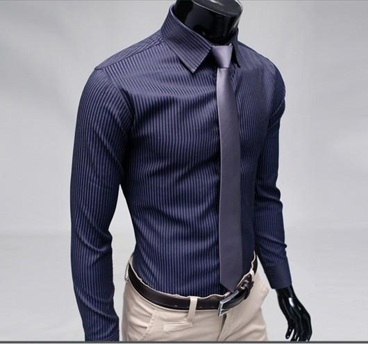 Fashion Stylish Slim Fit Designer Casual Striped Dress Shirts