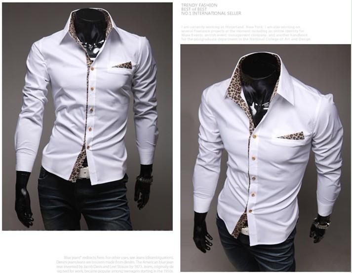 France Mens Luxury Casual Slim Fit Stylish Dress Leopard lining Shirts