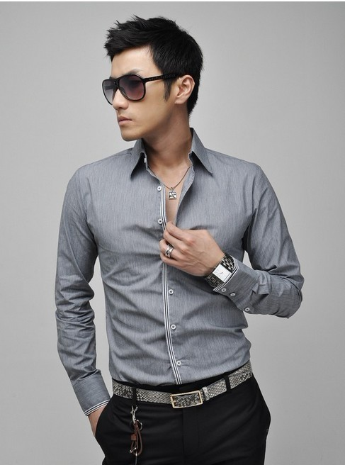 NEW Mens Casual Slim Fit Stylish Dress Shirts