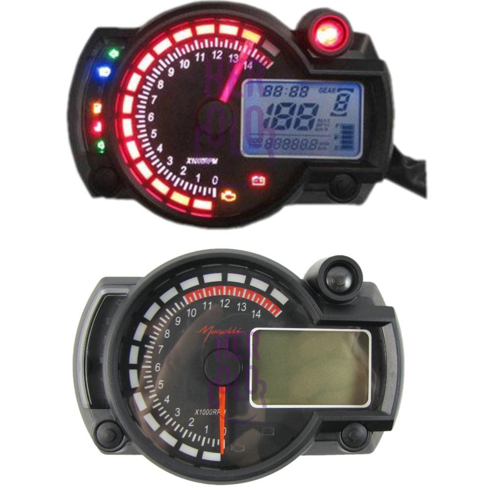 lcd motorcycle gauge speedometer odometer mph kph volmeter 2 4 stroke ebay. Black Bedroom Furniture Sets. Home Design Ideas