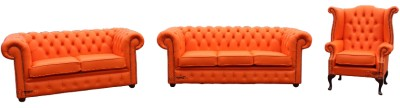 Chesterfield 3 2 1 Leather Three Piece Wing Sofa Settee