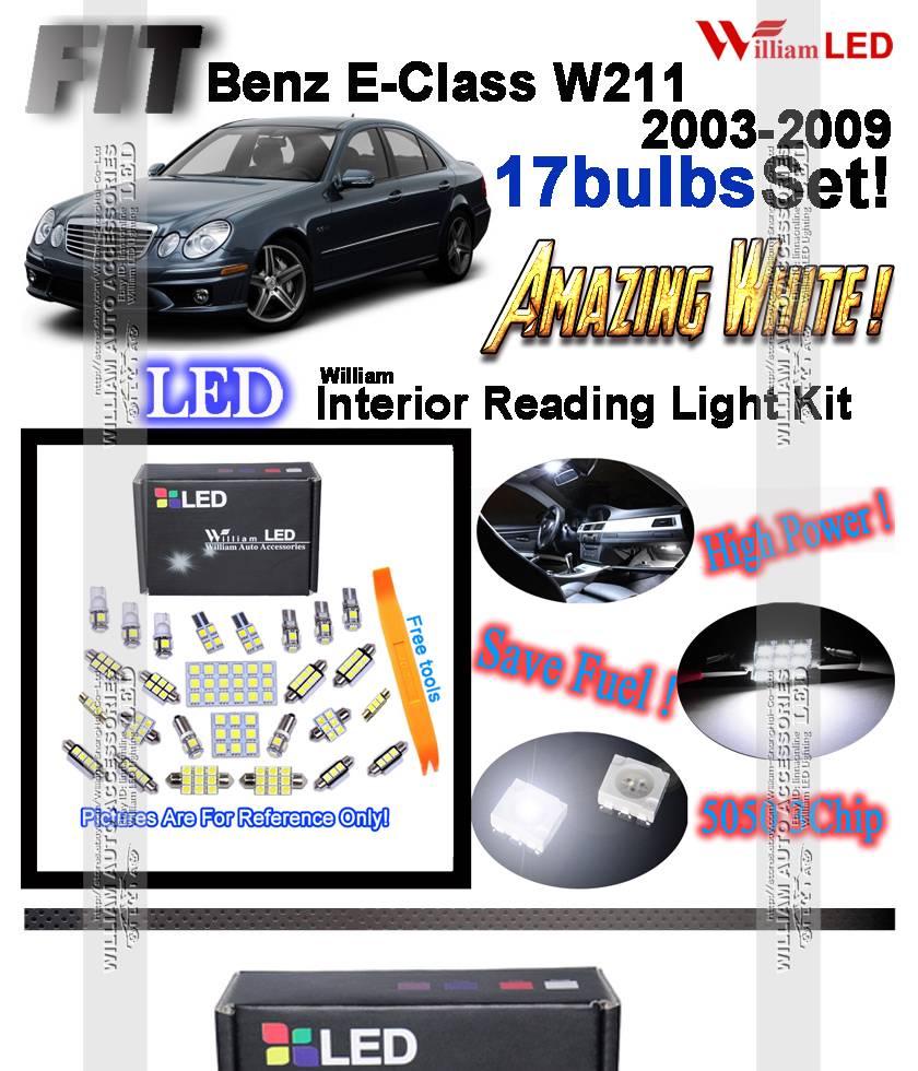 17pcs Hid White Led Interior Light Kit For Mercedes Benz E