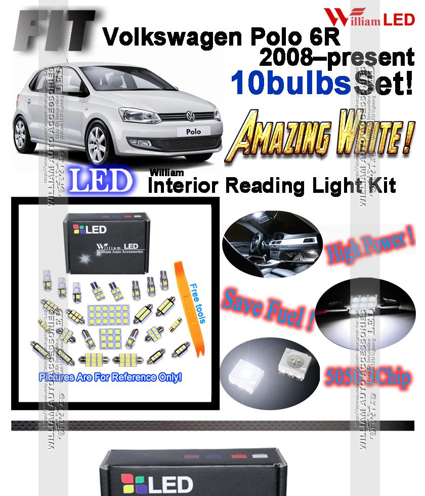 10bulbs Xenon White Led Interior Light Kit For Volkswagen Polo 6r Power To The Dome And Comes On Transform Your Ugly Stock Yellow Bulbs With These Super Bright Easy Plug Play Installation Takes 5 10 Minutes Replace Low