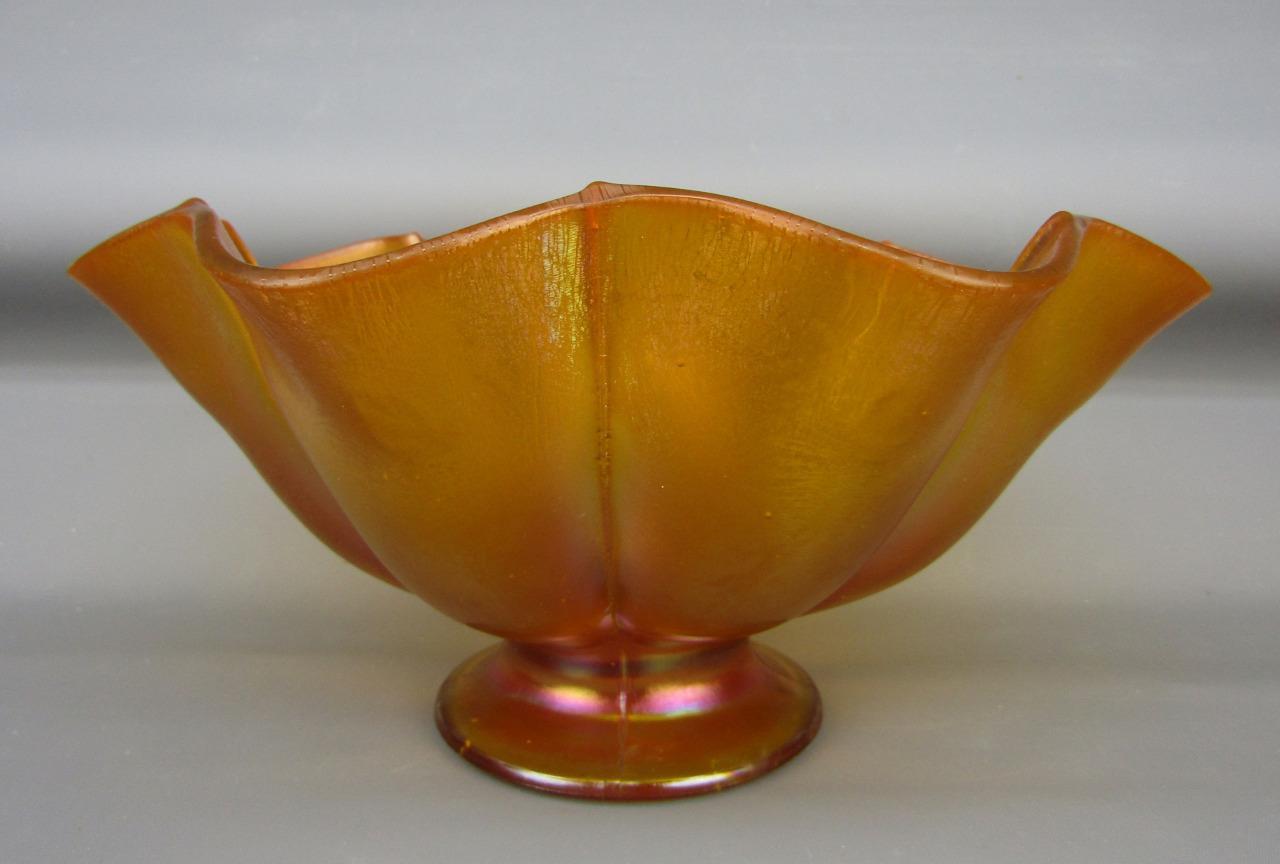 Inventive Vintage Glass fenton? Ruffled Edge Bowl With Silver Leaf Design