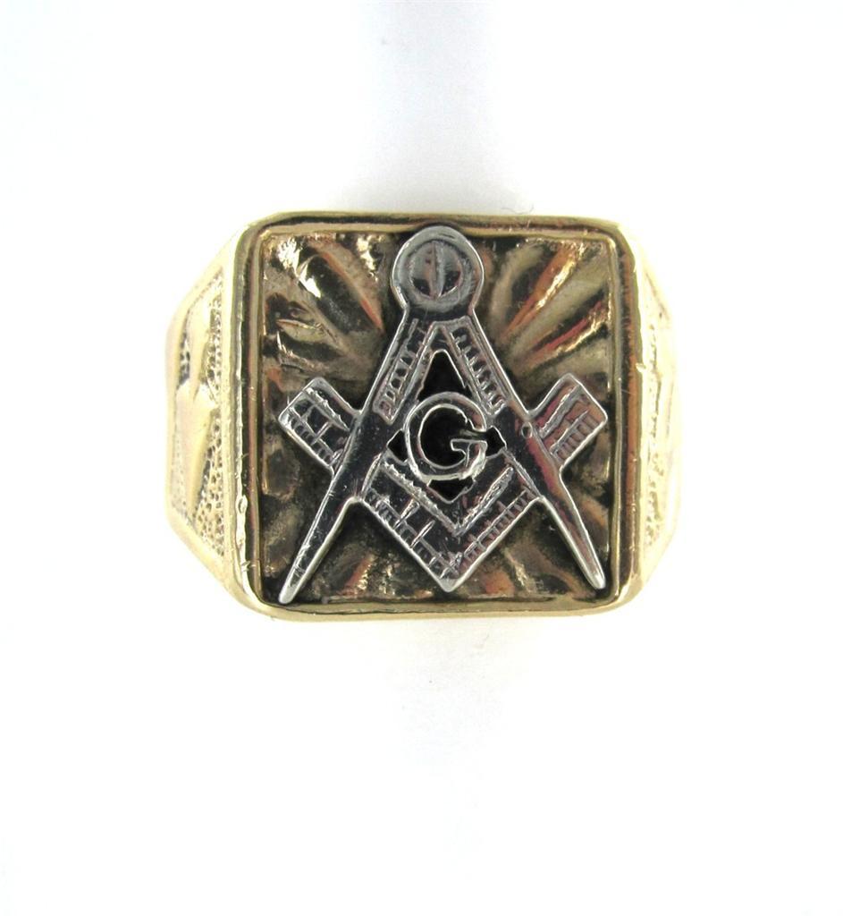 14kt White Yellow Gold Freemason Masonic Mason Symbol Ring