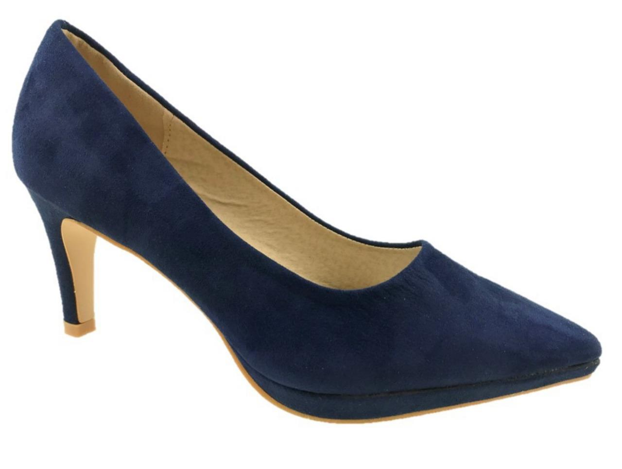 LADIES FASHION FAUX SUEDE SHOES LEATHER INSOLE SLIP ON COURT SHOES SUEDE NAVY f12777