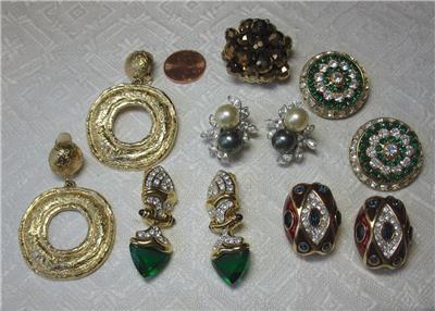 Designer, Signed Nolan Miller Jackie Collins Estate Earrings Black Pearl Celebrity Jewelry Other Entertainment Mem