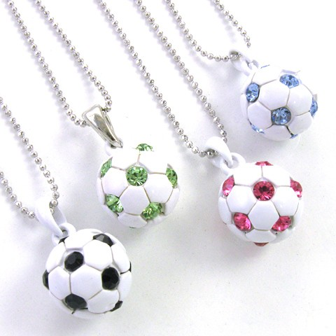 Soccer Ball Light Blue Crystal Rhinestones Sports Necklace
