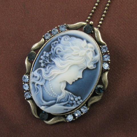 Blue stone design cameo necklace chain pendant antique gold tone description aloadofball Choice Image