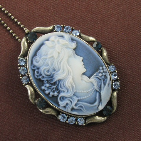 Blue stone design cameo necklace chain pendant antique for Premier jewelry cross ring