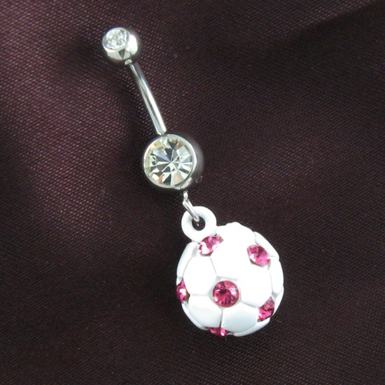 Pink White Soccer Ball Sports Clear Dangle Belly Button