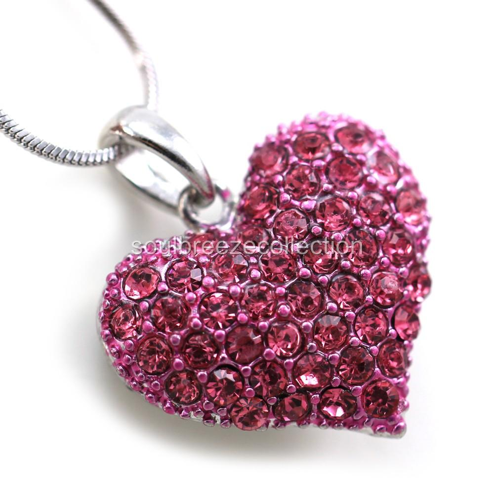 Small love pink heart valentines day pendant necklace charm lady categories cell phone pda accessories necklaces aloadofball Image collections