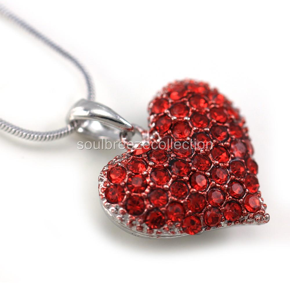 red swarovski necklace elements pendant silver heart of made with