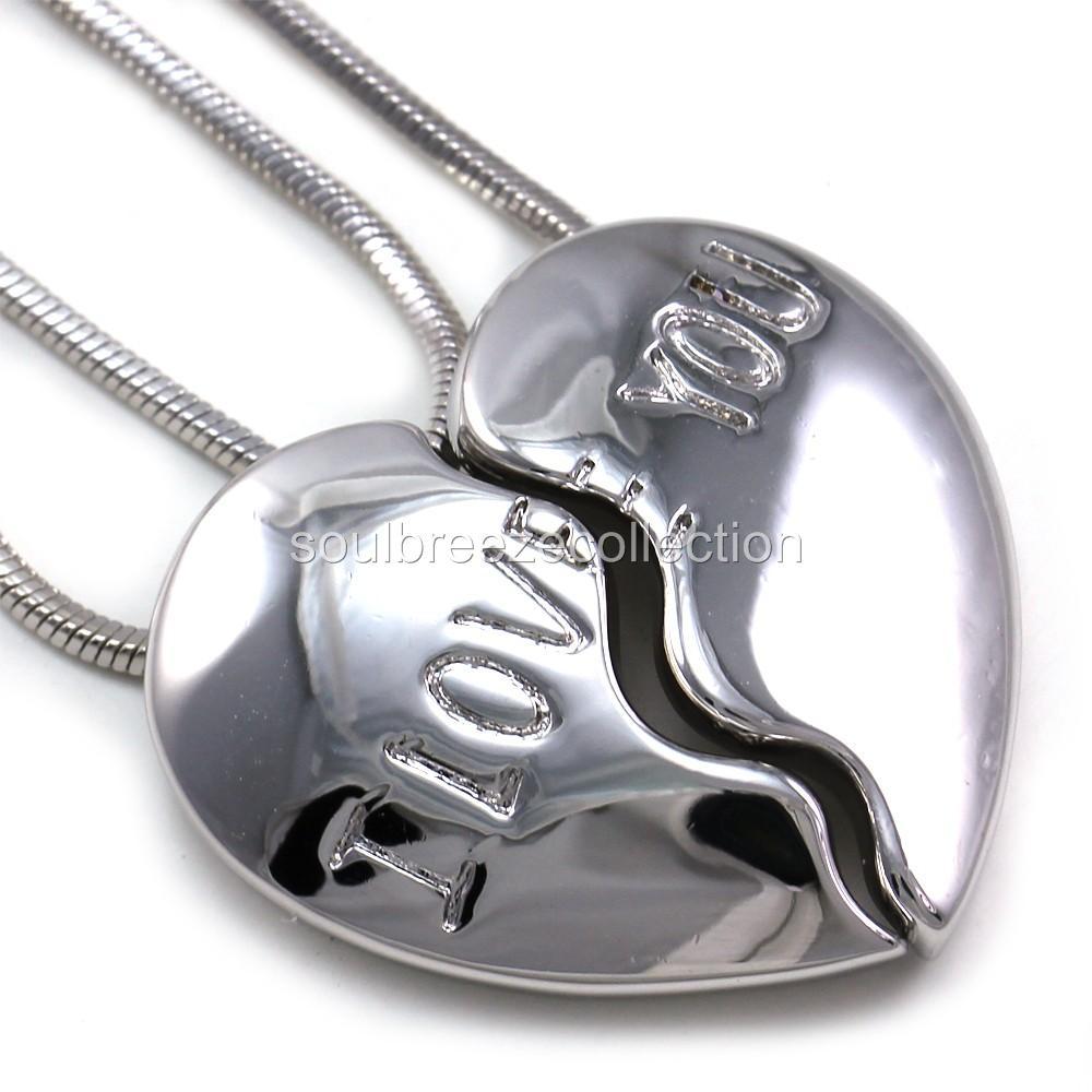 I love you half heart best friend bff pendant necklace charm silver description aloadofball Choice Image