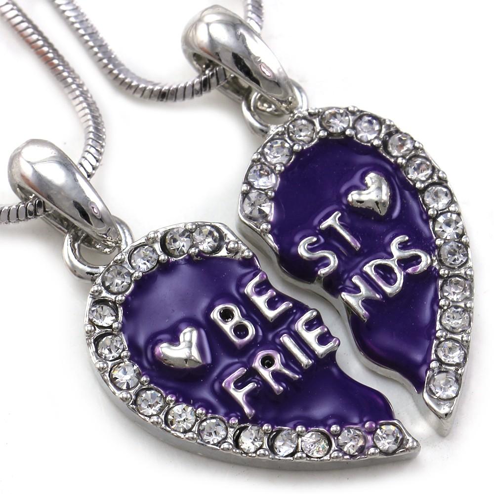 Best friends forever bff lavender purple heart pendant necklace description mozeypictures Choice Image