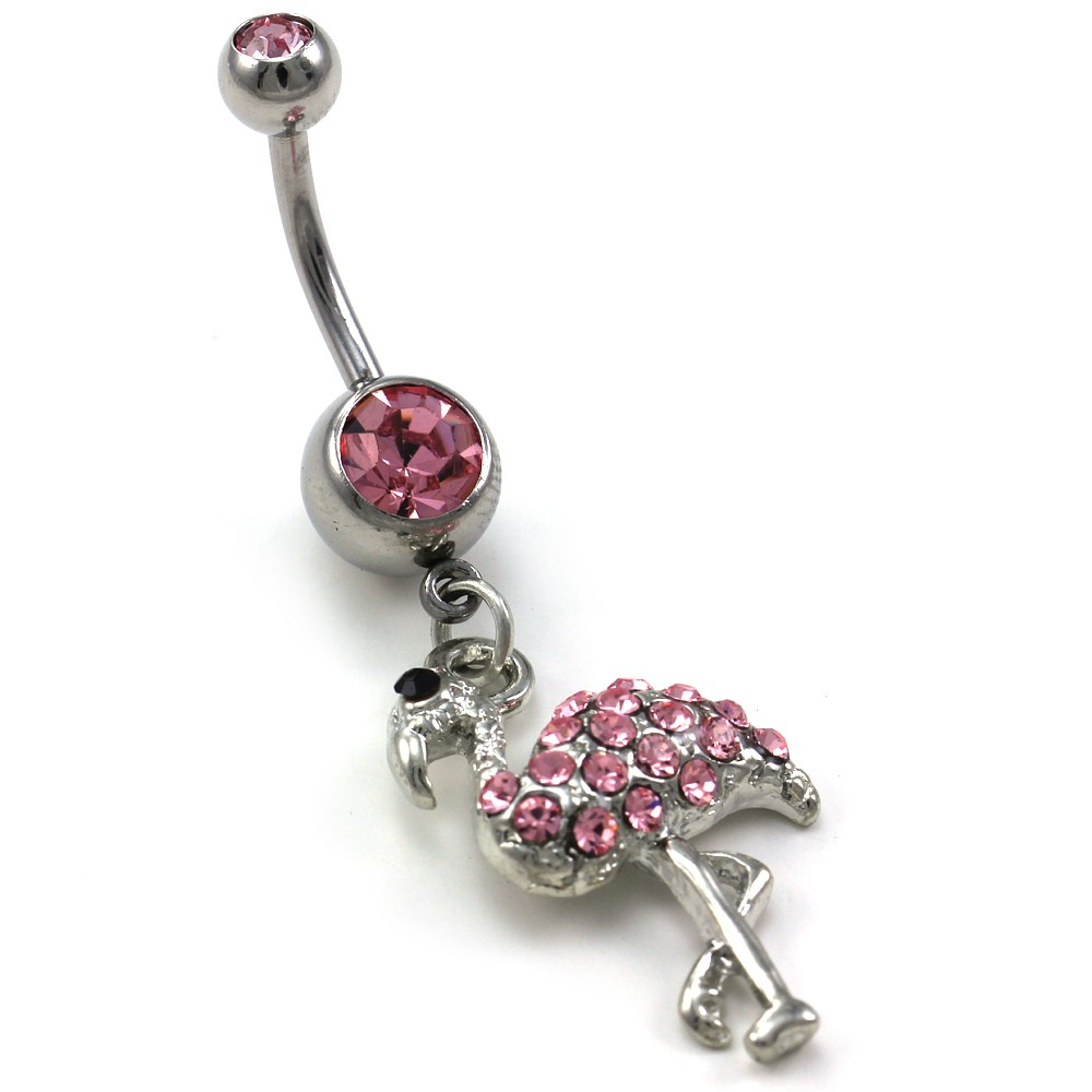 Details About Light Pink Flamingo Bird Animal Dangle Belly Button Navel Ring Body Jewelry 316l