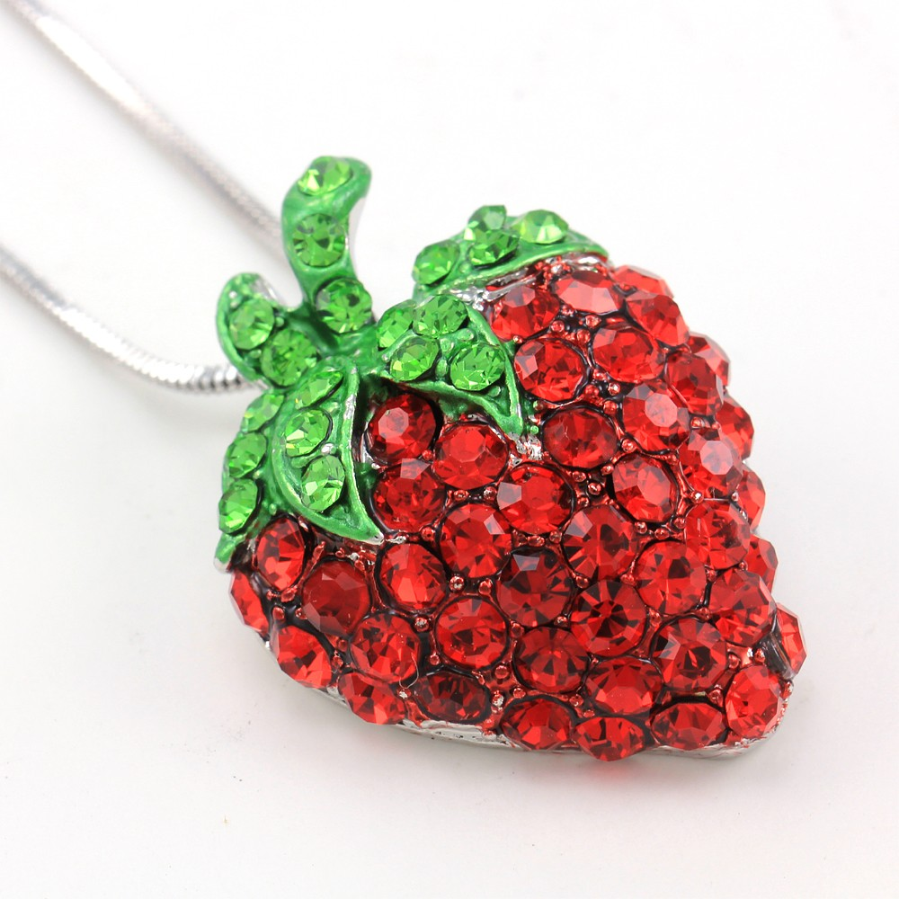 fruit jewelry green leaf strawberry berry fruit pendant necklace 4578