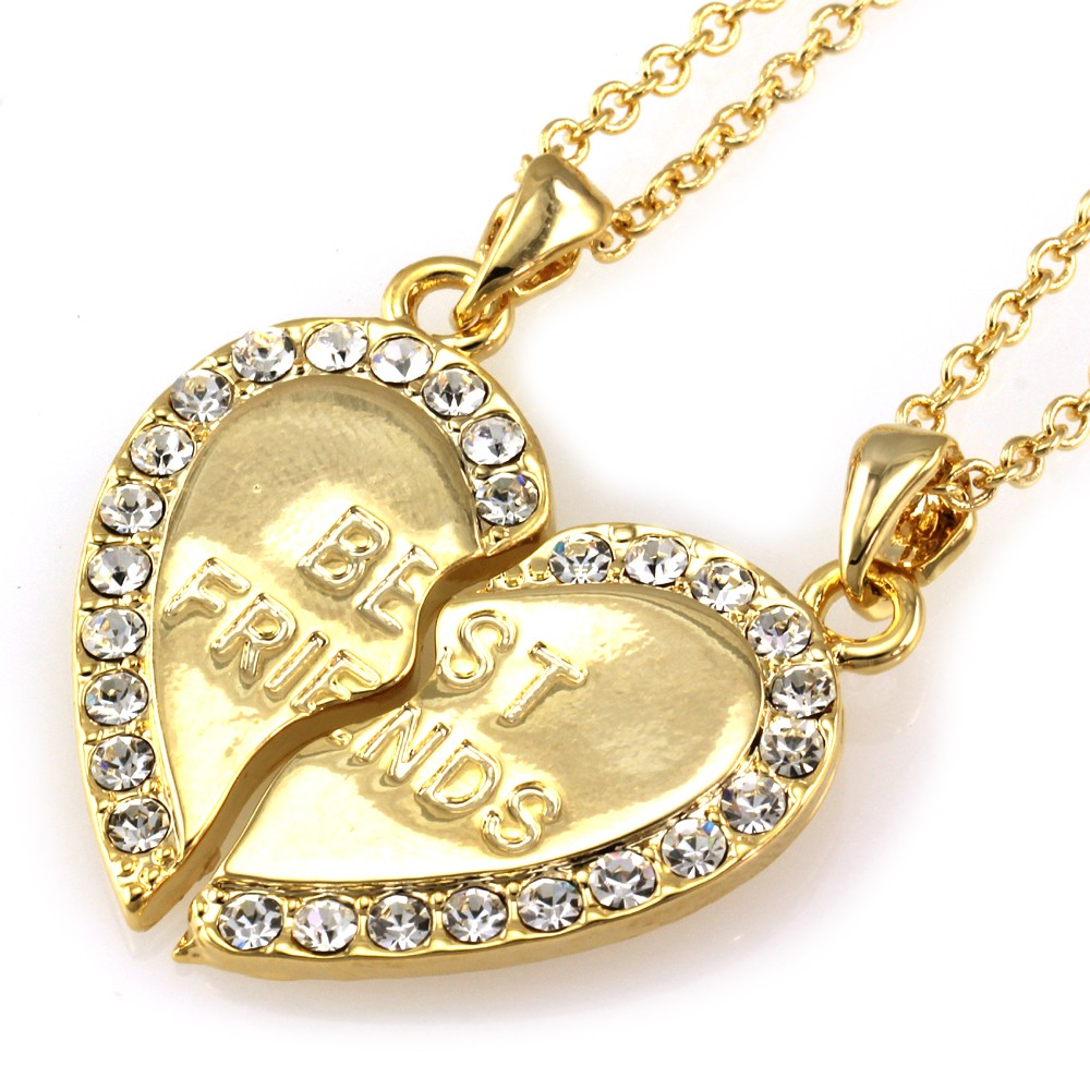 Gold Best Friend Bracelets: HEART BFF Best Friends Forever Clear Crystal Necklace