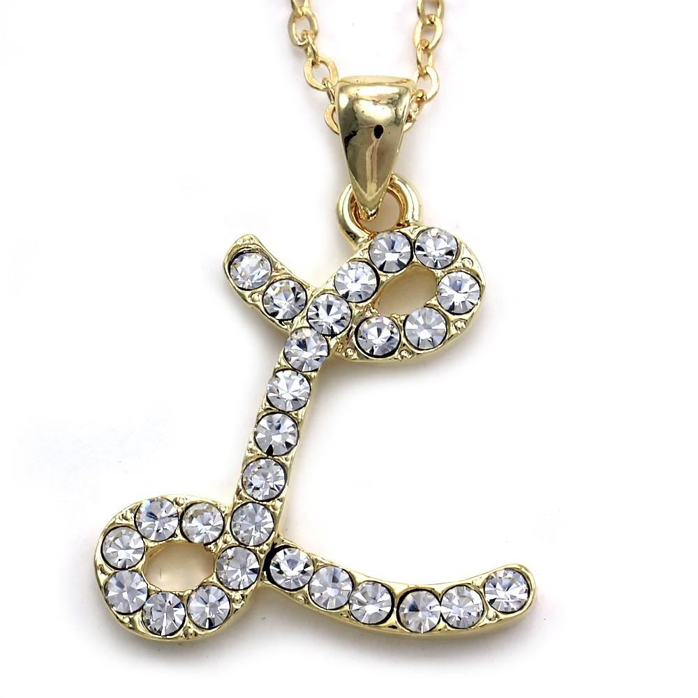 New initial alphabet letter l pendant necklace high polish gold tone description aloadofball Choice Image