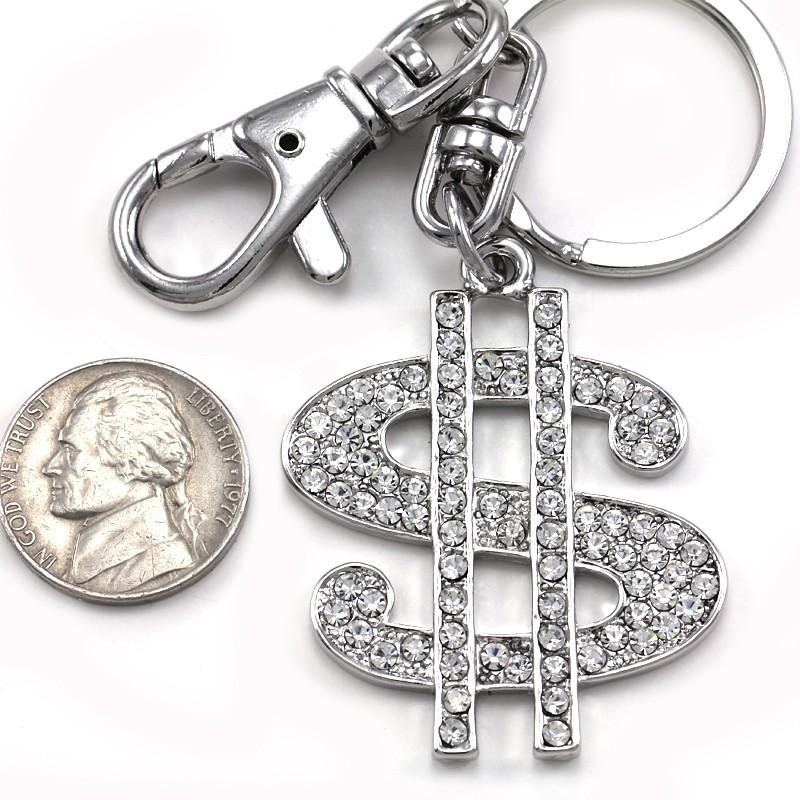 Big $ Money Dollar Sign Keychain Key Ring Charm Car Accessory Polish Silver Tone