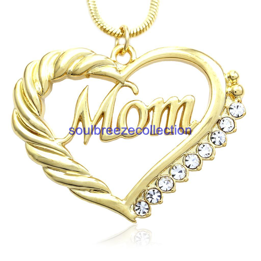 Gold Tone Heart MOM Necklace Love Pendant Women Mothers ...