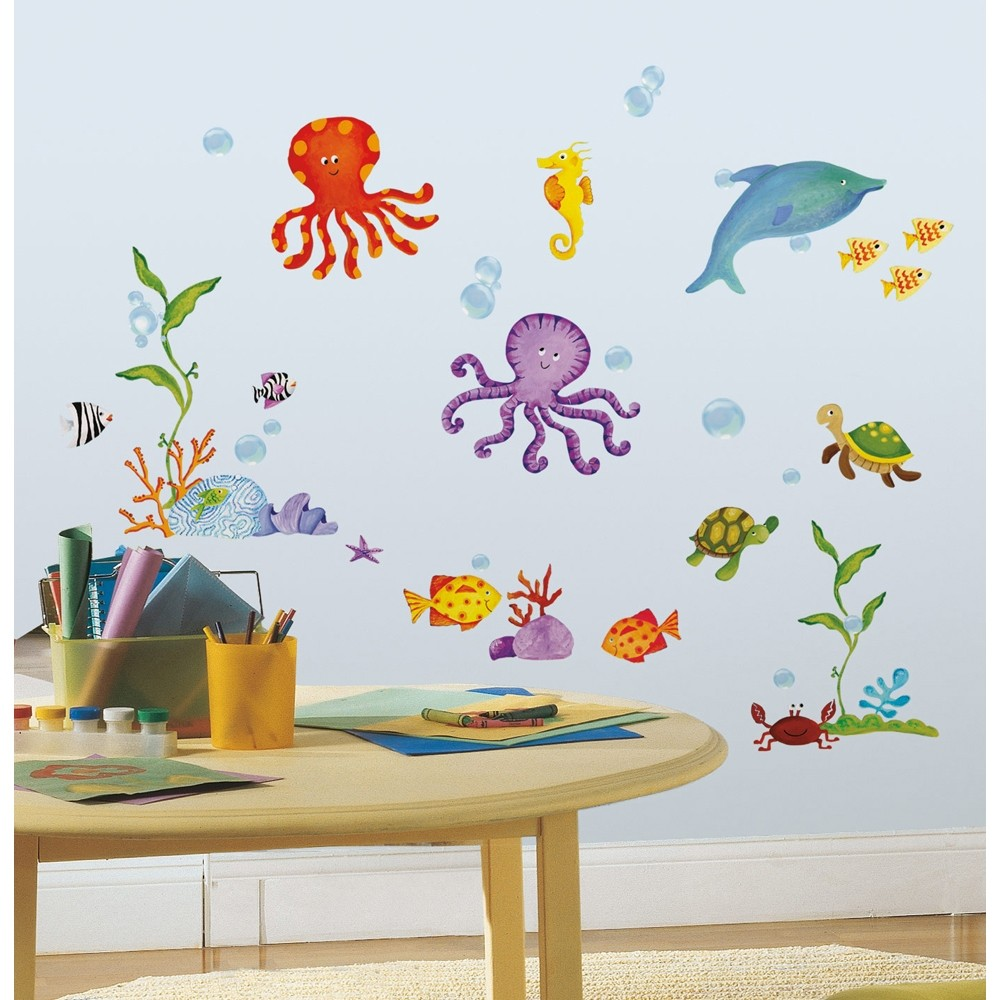 bathroom wall stickers for kids 59 new tropical fish wall decals octopus stickers 22581