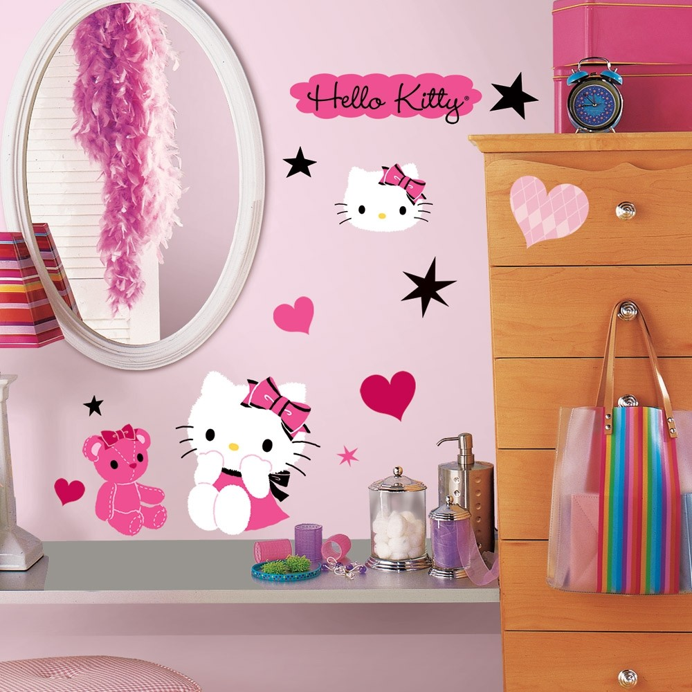 38 new hello kitty couture wall decals girls bedroom - Decoration hello kitty chambre bebe ...