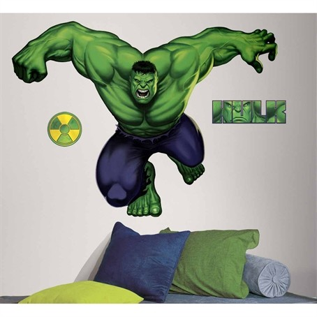 New GIANT INCREDIBLE HULK WALL DECALS Marvel Room Stickers ...