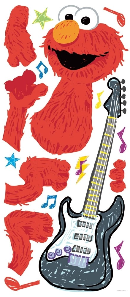 Elmo Bedroom Decorating Ideas: New Large ELMO ROCK & ROLL WALL DECALS Sesame Street