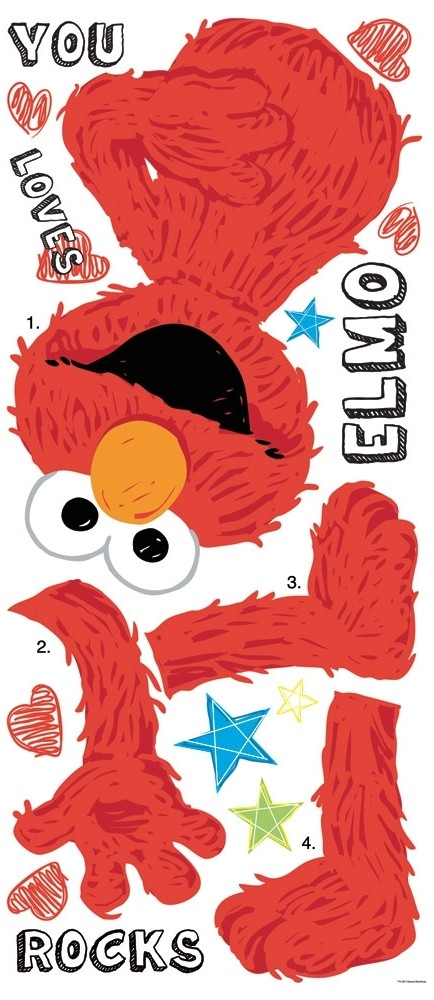 Elmo Bedroom Decorating Ideas: New Large ELMO LOVES YOU WALL DECALS Sesame Street