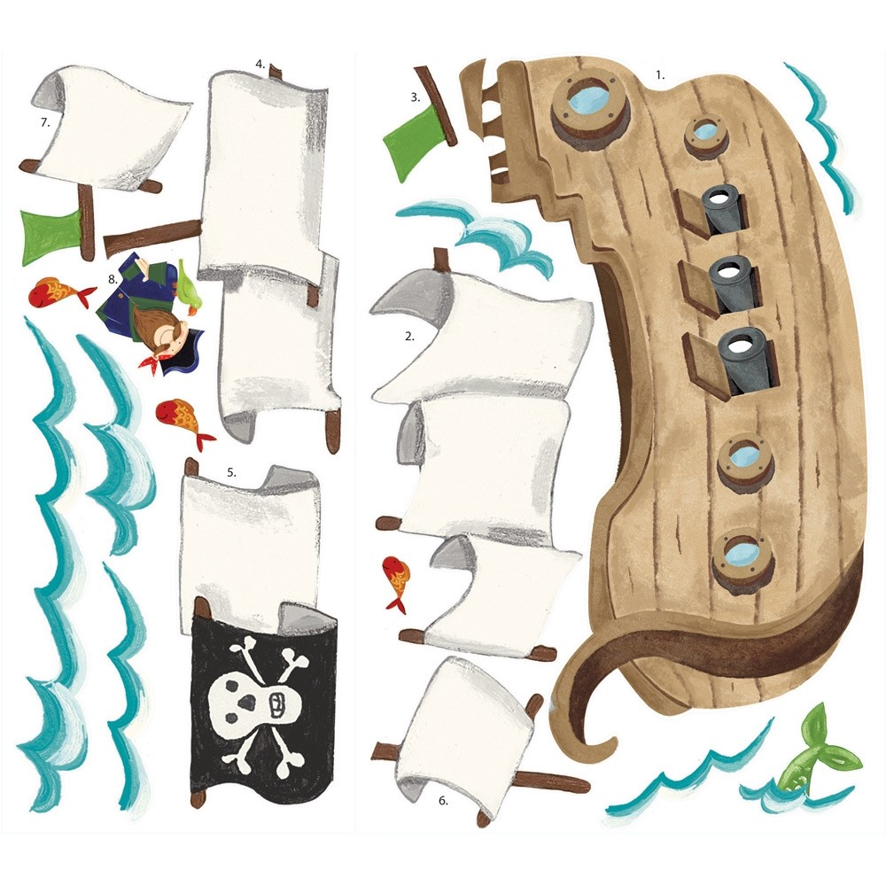 new giant pirate ship wall decals boys baby nursery stickers kids bedroom decor. Black Bedroom Furniture Sets. Home Design Ideas