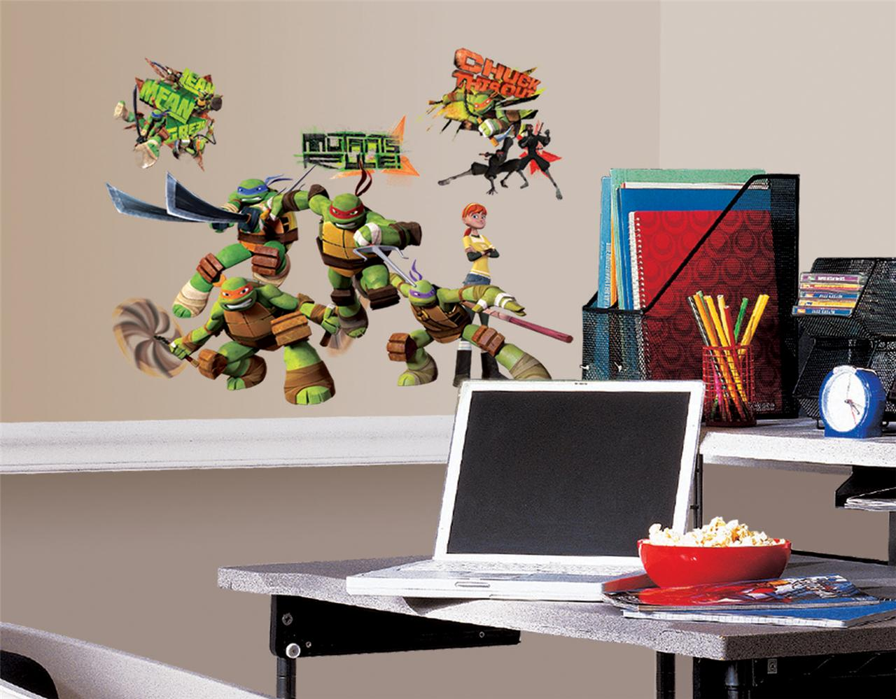 New TEENAGE MUTANT NINJA TURTLES WALL DECALS Kids Bedroom ...