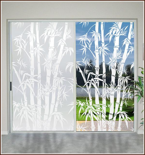 New Big Bamboo Etched Glass Clear Decorative Static Cling