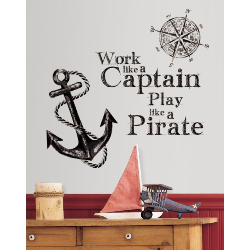 new work like a captain play like a pirate wall decals pirates room stickers ebay. Black Bedroom Furniture Sets. Home Design Ideas