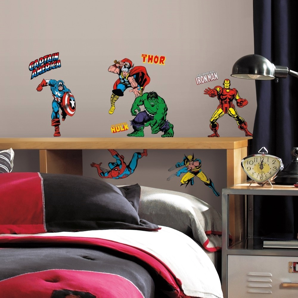 Boys Superhero Room Decor: 32 New Classic Marvel Heroes Wall Decals Avengers Stickers