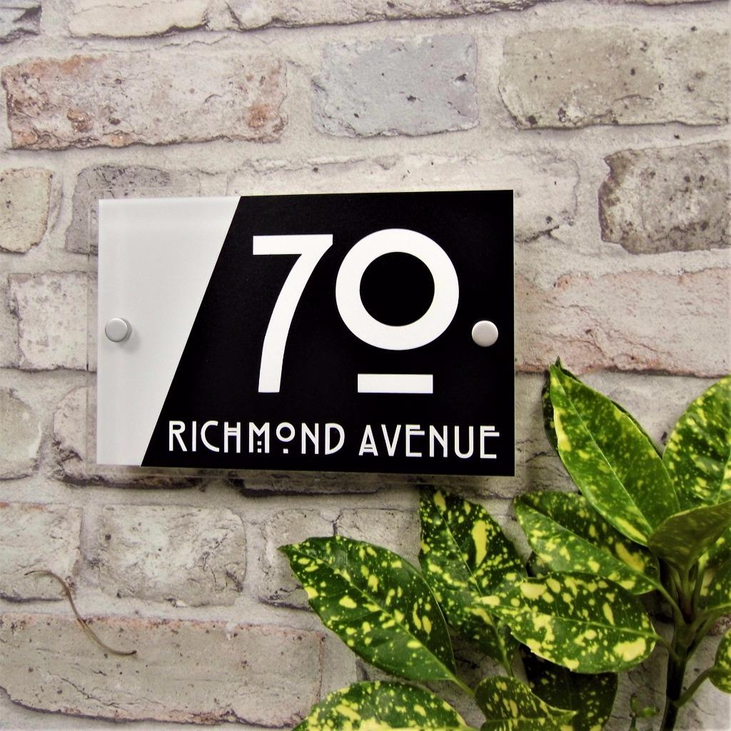 Modern House Door Number Plaque Address Sign Glass Effect Acrylic Name Plate Ebay