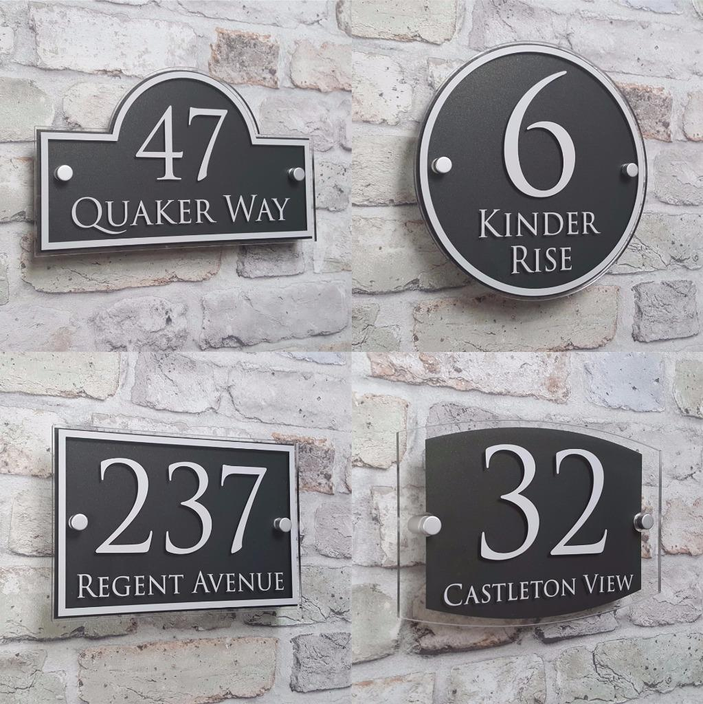 Details about modern house address plaque door number signs name plates glass effect acrylic