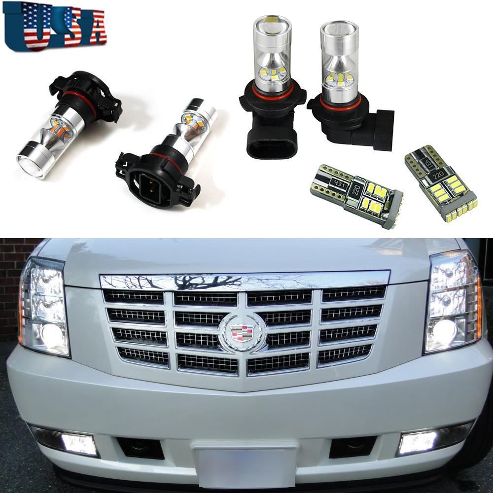 6pcs White LED Fog Driving DRL Light Bulbs Combo For 2007
