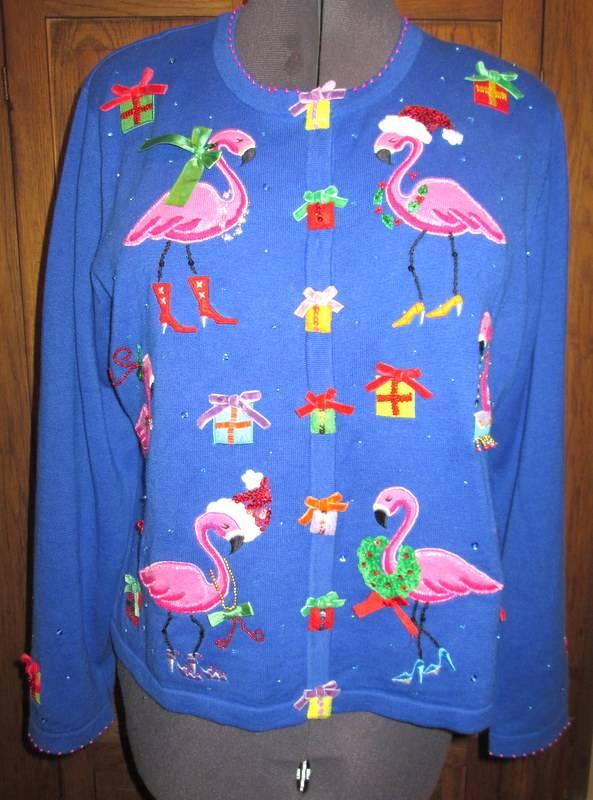 Women S Christmas Sweater W Pink Flamingos Size Xl Ebay
