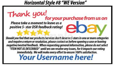 ebay feedback request template 50 custom thank you business cards for the ebay seller