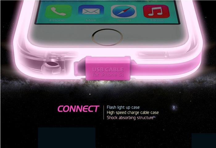 USB Charge Cable LED Flash Light UP PC Cover Case For