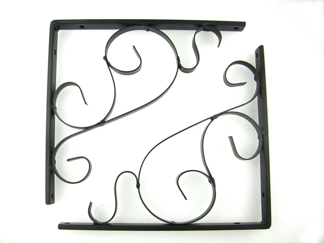 Pair Of Iron Metal Black Decorative Wall Shelf Brackets