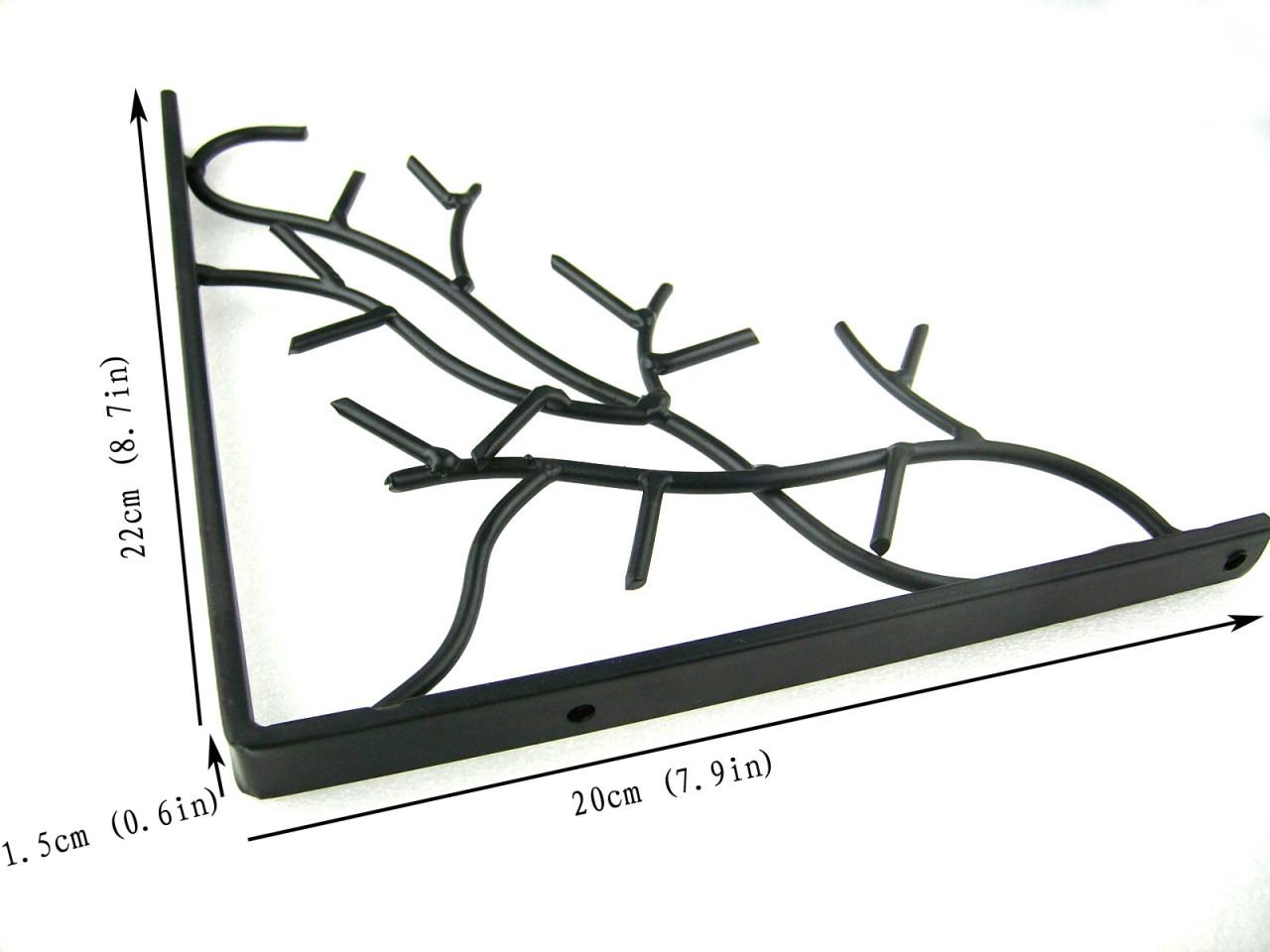 Pair Of Iron Metal Branch Decorative Wall Shelf Brackets
