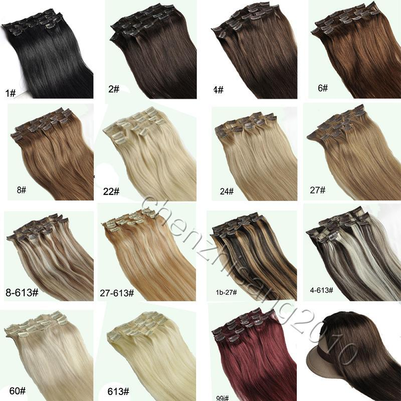 Clip In Extensions Real Remy Human Hair 16inch 70 80 100 Gram Brown