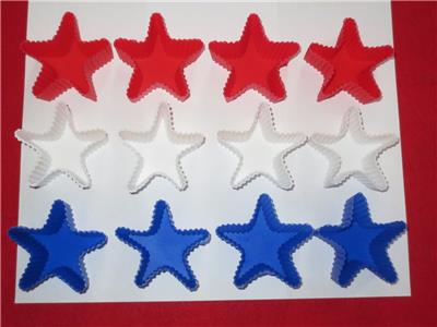 Silicone Flag Cake Mold Pan With 12 Star Shaped Cupcake