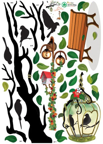 Tree & Birds Adhesive Removable Wall Home Decor Accents Stickers
