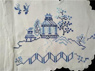 Beautiful Blue Willow Pattern Hand Embroidered With Cross