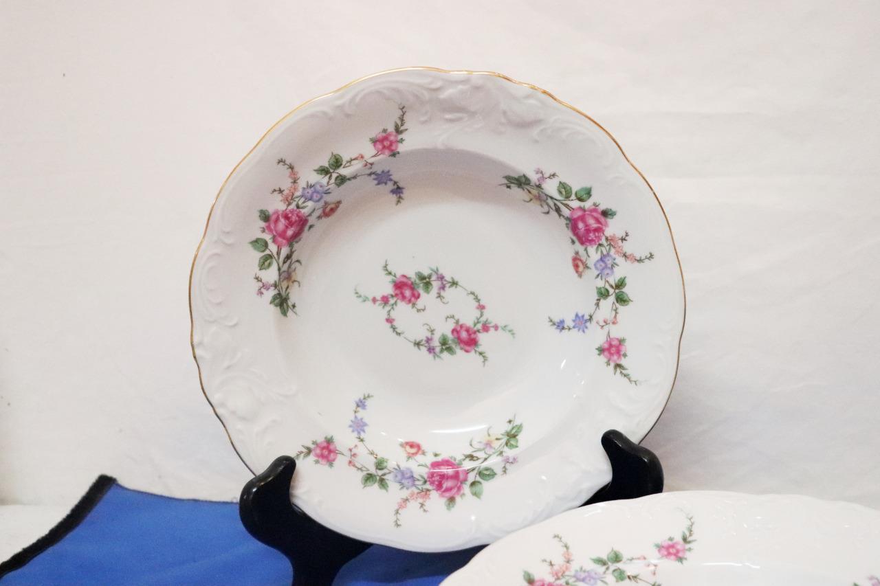 Vintage-Wawel-Enchanted-Rose-Garden-Cream-Soup-Salad-Bowl-Made-in-Poland-China thumbnail 11