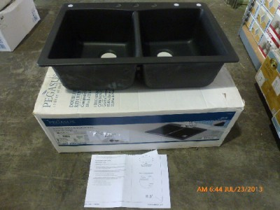 Pegasus 291655 Slate Composite Granite Double Bowl Kitchen