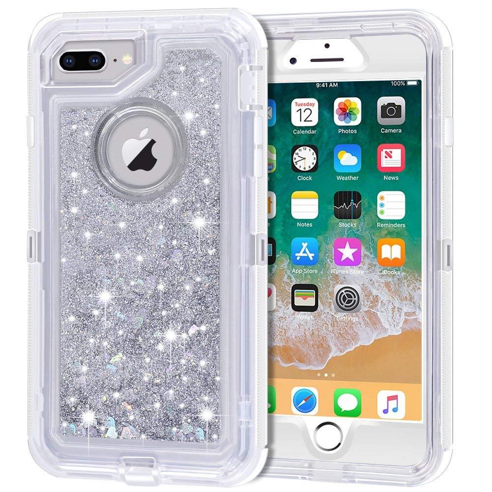 For iPhone 8 Plus XR XS Max 7 Glitter Liquid Defender Clear Bling Quicksand Case
